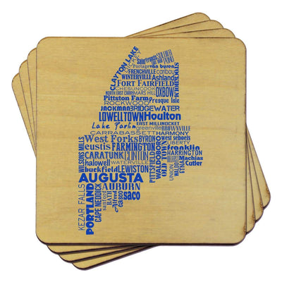 Torched Products Coasters Maine State Typography Coaster