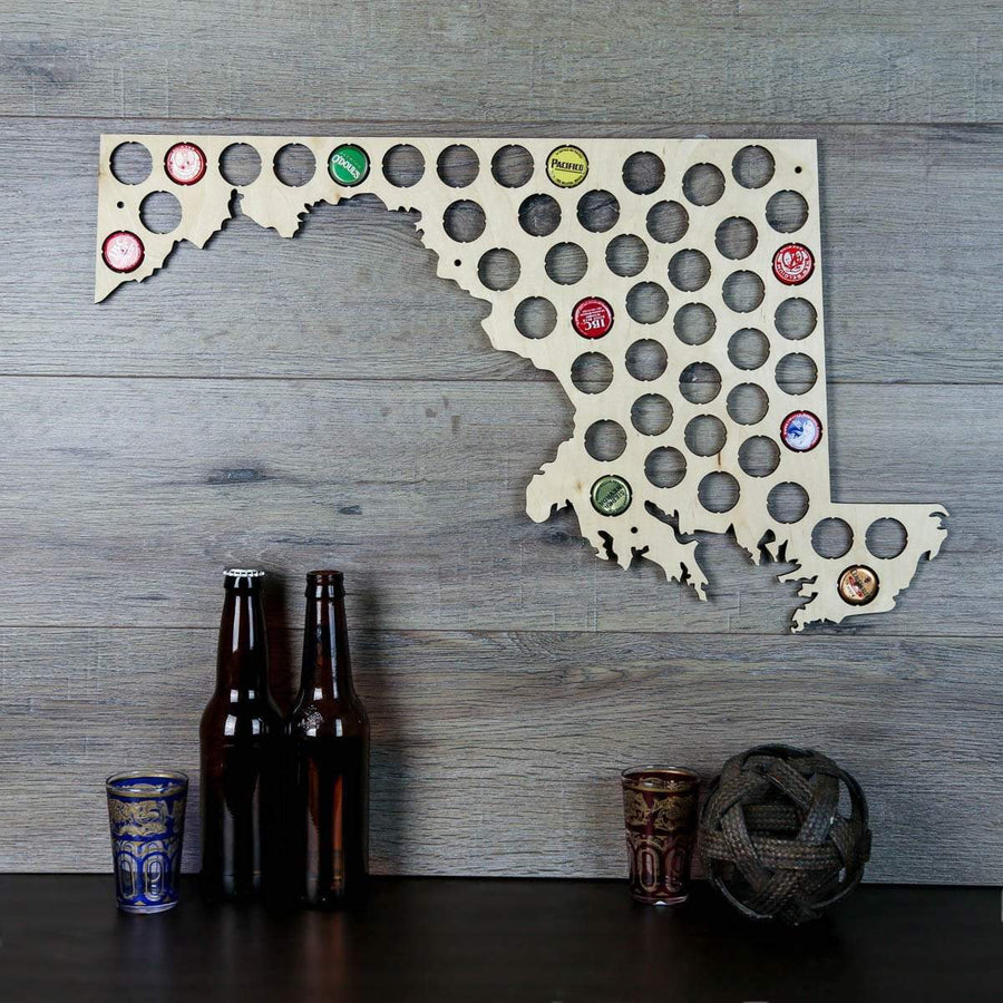 Torched Products Beer Bottle Cap Holder Maryland Beer Cap Map