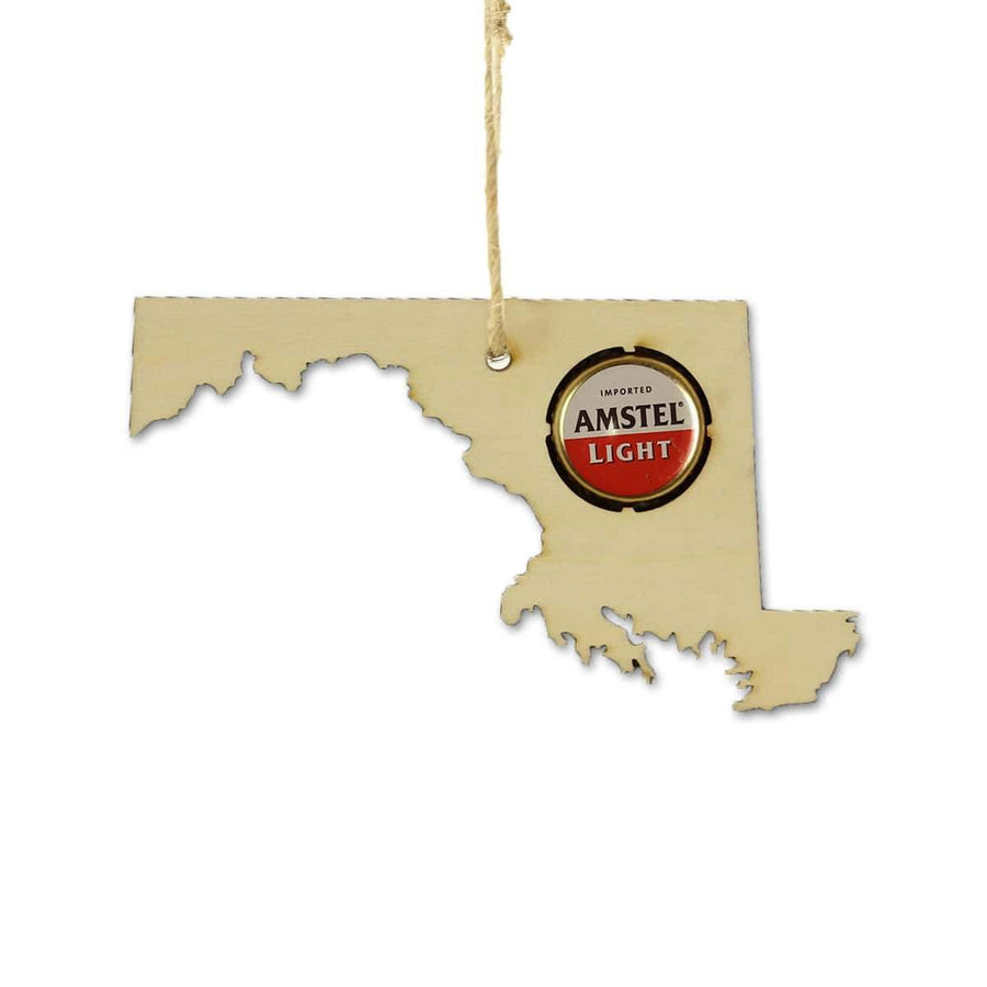 Torched Products Beer Cap Maps Maryland Beer Cap Map Ornaments