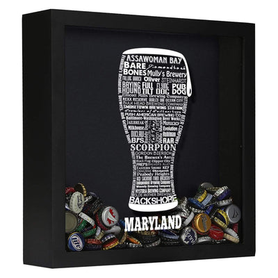 Torched Products Shadow Box Black Maryland Beer Typography Shadow Box