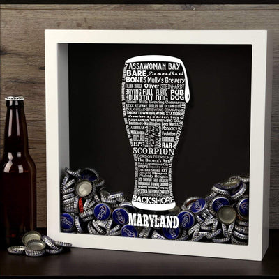 Torched Products Shadow Box Maryland Beer Typography Shadow Box