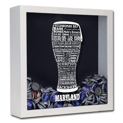Torched Products Shadow Box White Maryland Beer Typography Shadow Box