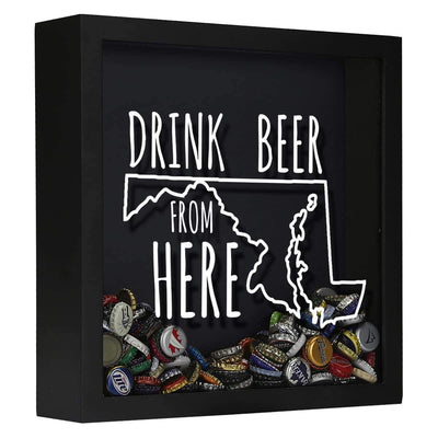Torched Products Shadow Box Black Maryland Drink Beer From Here Beer Cap Shadow Box (781176307829)