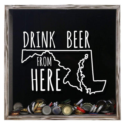 Torched Products Shadow Box Gray Maryland Drink Beer From Here Beer Cap Shadow Box (781176307829)