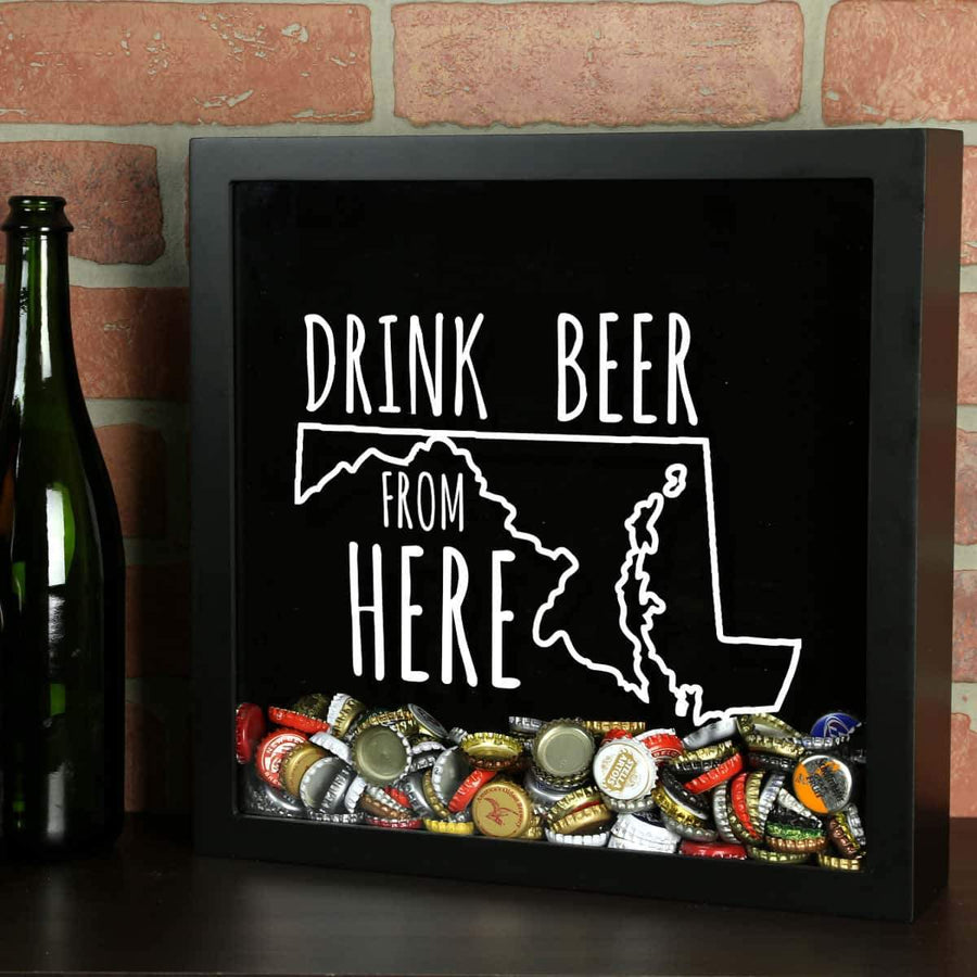 Torched Products Shadow Box Black Maryland Drink Beer From Here Beer Cap Shadow Box