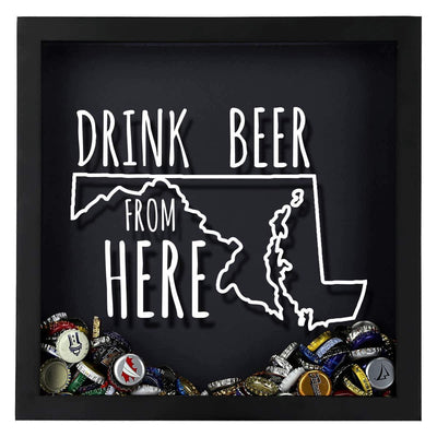 Torched Products Shadow Box Maryland Drink Beer From Here Beer Cap Shadow Box (781176307829)