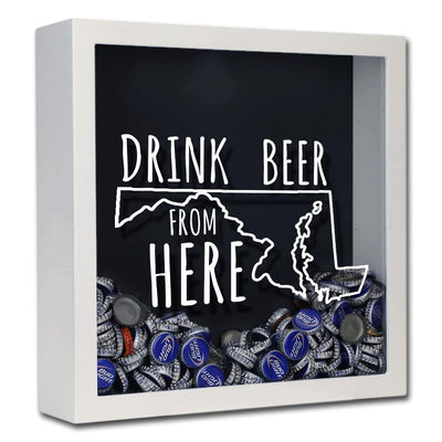 Torched Products Shadow Box White Maryland Drink Beer From Here Beer Cap Shadow Box (781176307829)