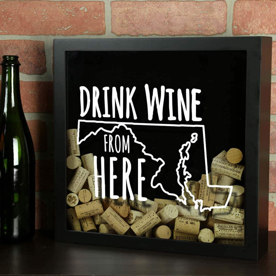 Torched Products Shadow Box Black Maryland Drink Wine From Here Wine Cork Shadow Box
