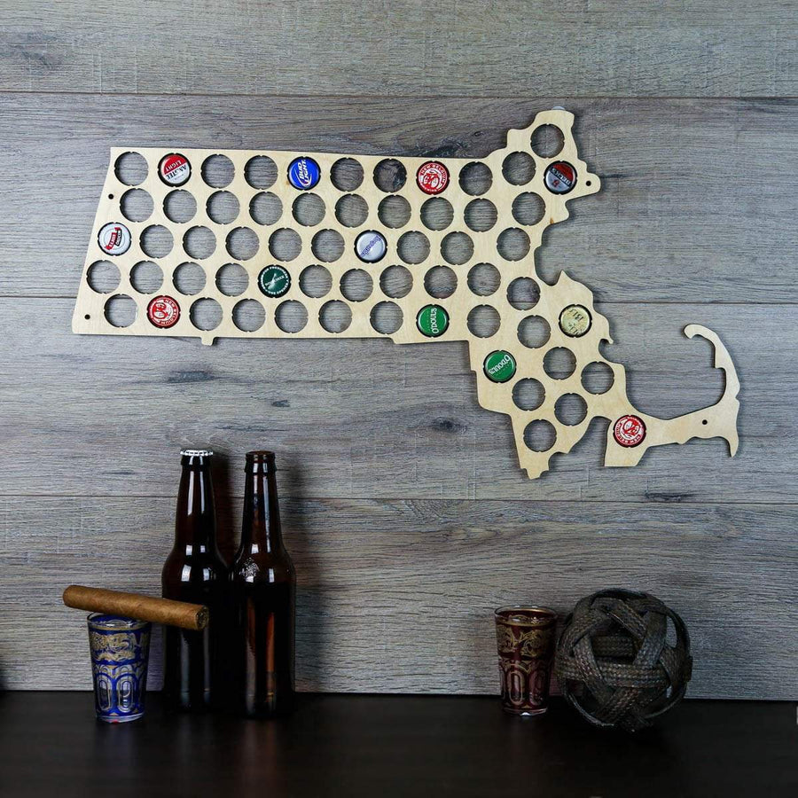 Torched Products Beer Bottle Cap Holder Massachusetts Beer Cap Map