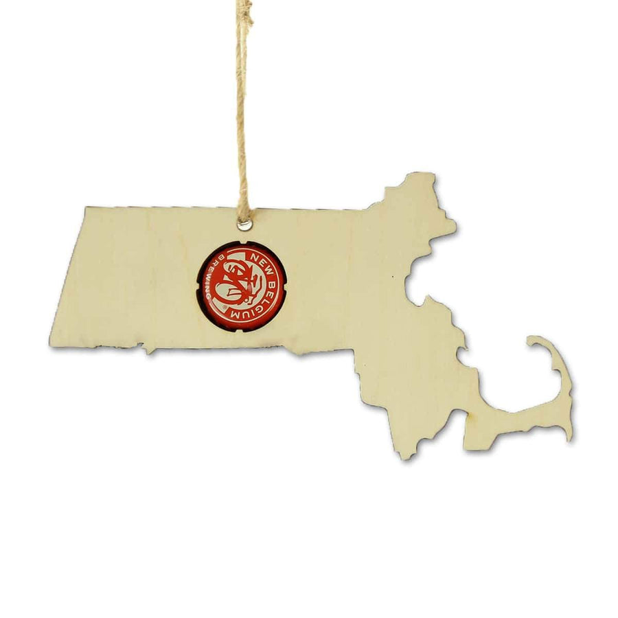 Torched Products Beer Cap Maps Massachusetts Beer Cap Map Ornaments