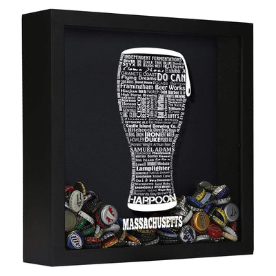 Torched Products Shadow Box Black Massachusetts Beer Typography Shadow Box (779425349749)