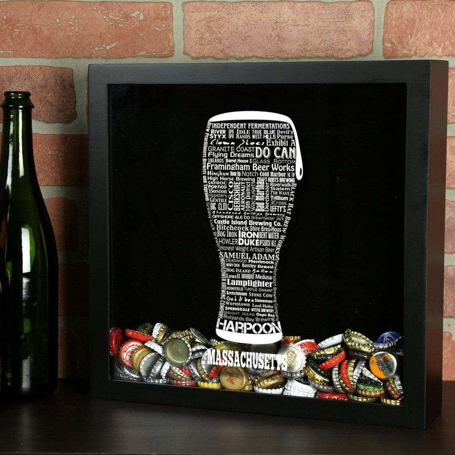 Torched Products Shadow Box Black Massachusetts Beer Typography Shadow Box