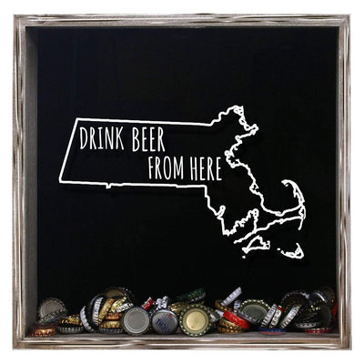 Torched Products Shadow Box Gray Massachusetts Drink Beer From Here Beer Cap Shadow Box (781176143989)
