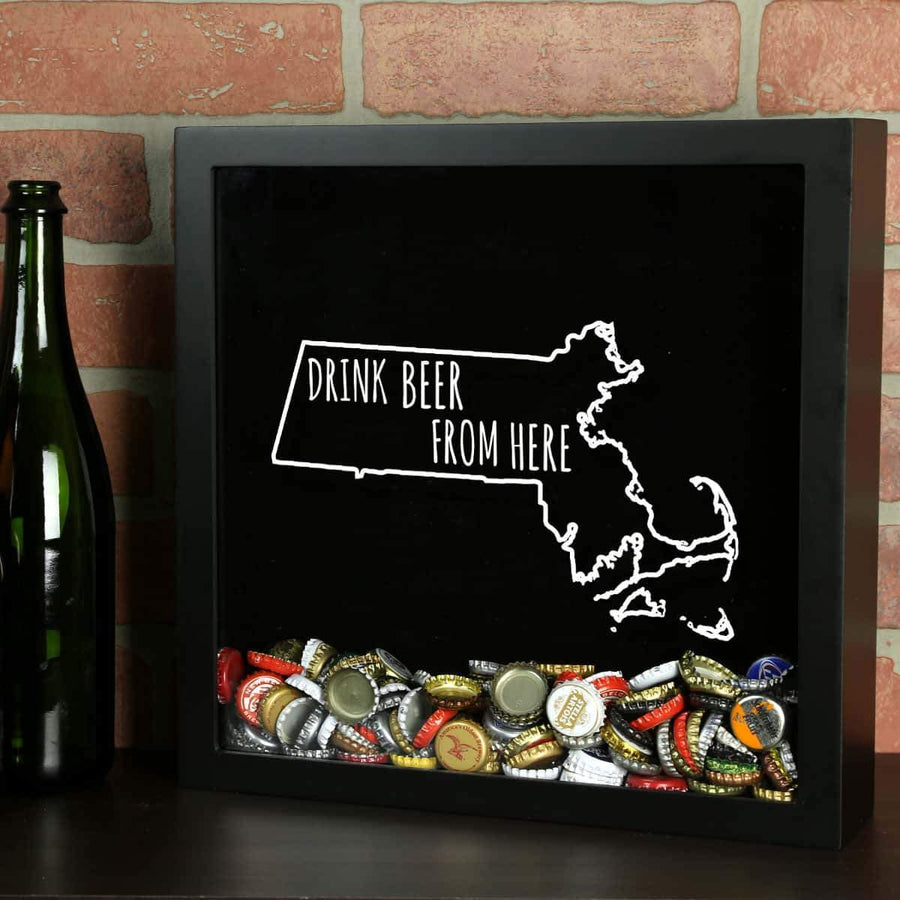 Torched Products Shadow Box Black Massachusetts Drink Beer From Here Beer Cap Shadow Box
