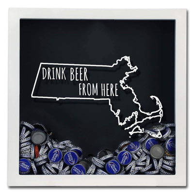 Torched Products Shadow Box Massachusetts Drink Beer From Here Beer Cap Shadow Box (781176143989)