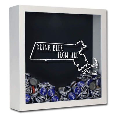 Torched Products Shadow Box White Massachusetts Drink Beer From Here Beer Cap Shadow Box (781176143989)
