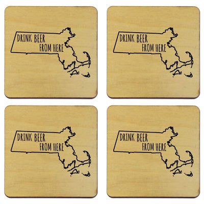 Torched Products Coasters Massachusetts Drink Beer From Here Coasters (781451165813)