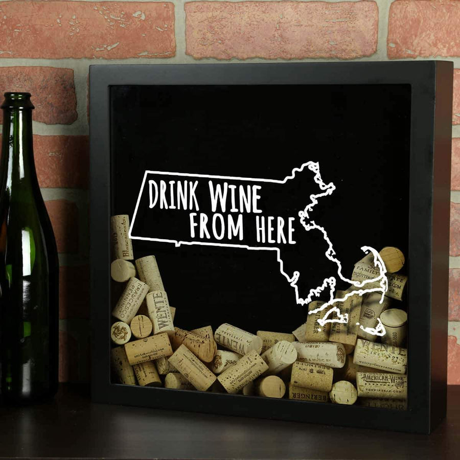 Torched Products Shadow Box Black Massachusetts Drink Wine From Here Wine Cork Shadow Box (795744206965)