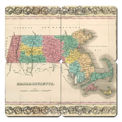 Torched Products Coasters Massachusetts Old World Map Coaster