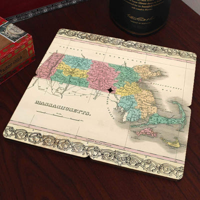 Torched Products Coasters Massachusetts Old World Map Coaster (790593142901)