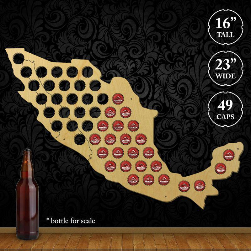 Torched Products Beer Bottle Cap Holder Mexico Beer Cap Map