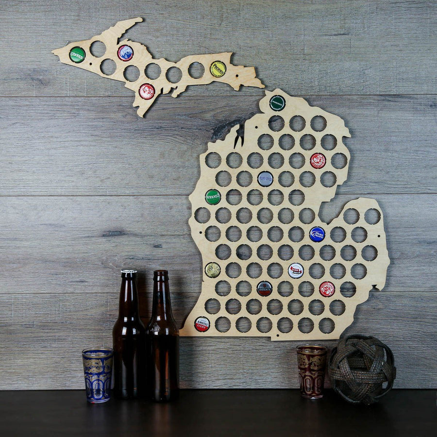 Torched Products Beer Bottle Cap Holder Michigan Beer Cap Map