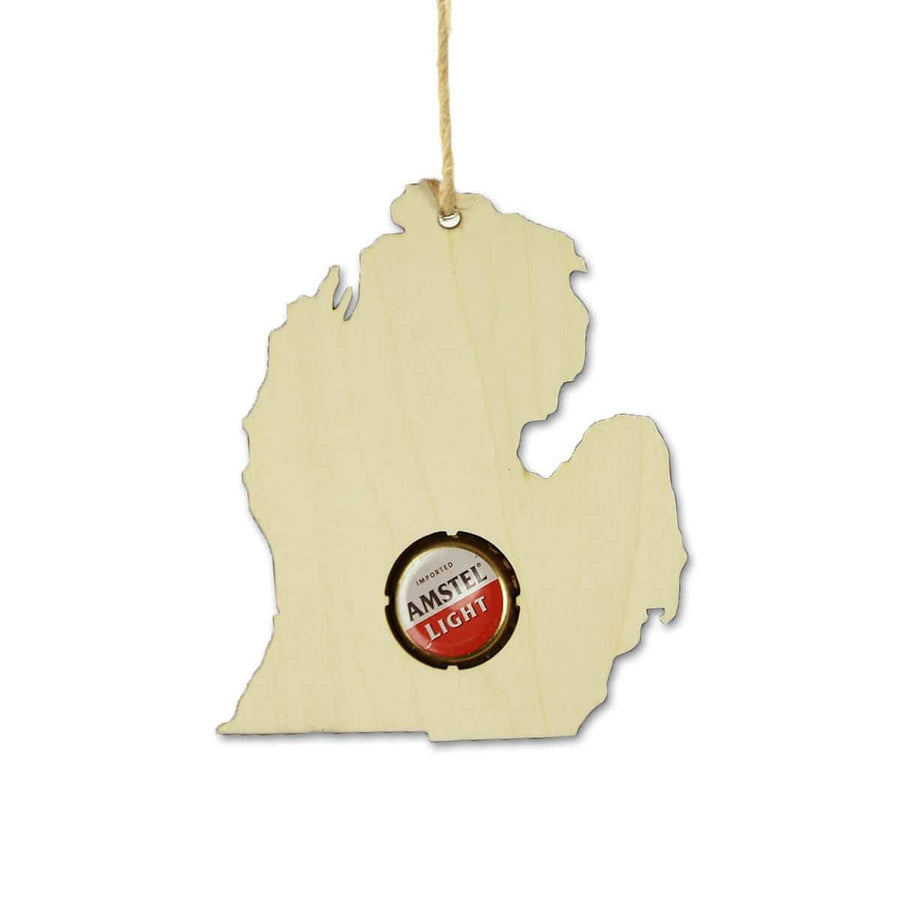 Torched Products Beer Cap Maps Michigan Beer Cap Map Ornaments (781568737397)