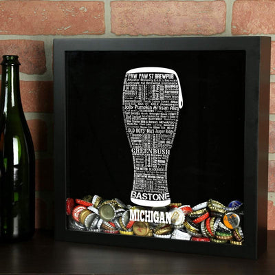 Torched Products Shadow Box Michigan Beer Typography Shadow Box