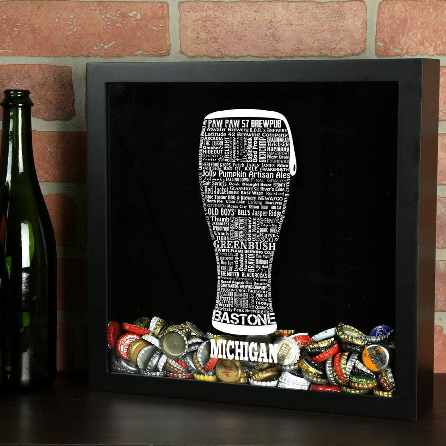 Torched Products Shadow Box Black Michigan Beer Typography Shadow Box