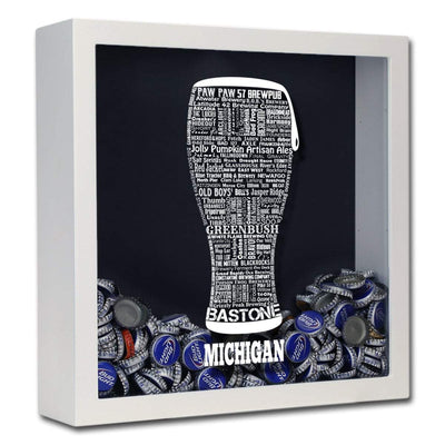 Torched Products Shadow Box White Michigan Beer Typography Shadow Box