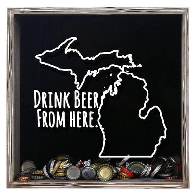 Torched Products Shadow Box Gray Michigan Drink Beer From Here Beer Cap Shadow Box