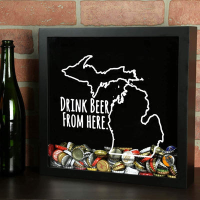 Torched Products Shadow Box Michigan Drink Beer From Here Beer Cap Shadow Box