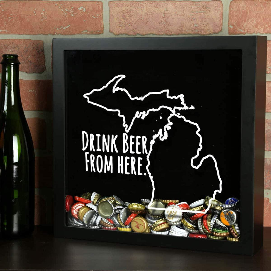 Torched Products Shadow Box Black Michigan Drink Beer From Here Beer Cap Shadow Box