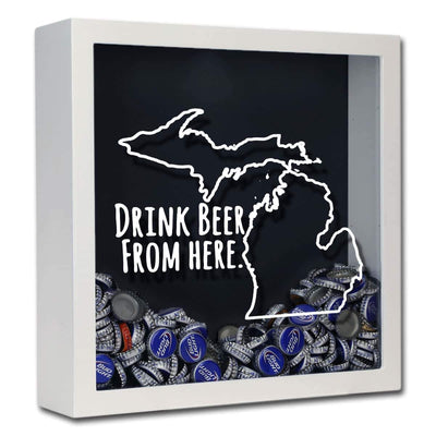 Torched Products Shadow Box White Michigan Drink Beer From Here Beer Cap Shadow Box