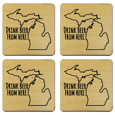 Torched Products Coasters Michigan Drink Beer From Here Coasters