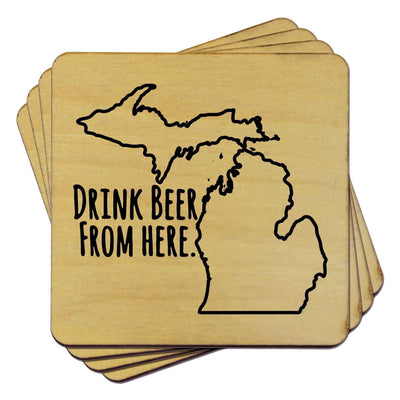 Torched Products Coasters Michigan Drink Beer From Here Coasters (781451559029)