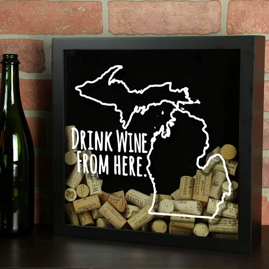Torched Products Shadow Box Black Michigan Drink Wine From Here Wine Cork Shadow Box (795744829557)
