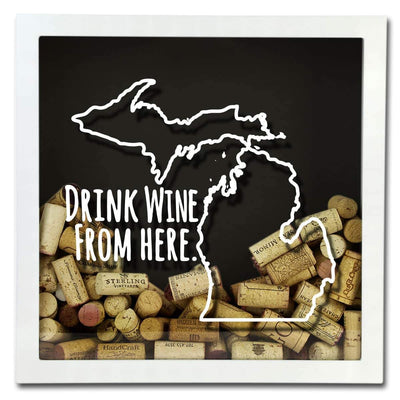 Torched Products Shadow Box Michigan Drink Wine From Here Wine Cork Shadow Box