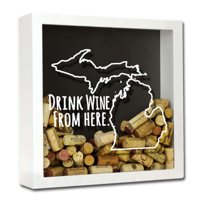 Torched Products Shadow Box White Michigan Drink Wine From Here Wine Cork Shadow Box