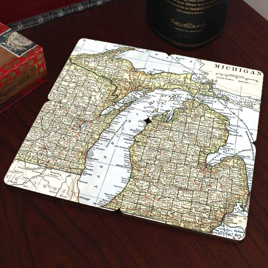 Torched Products Coasters Michigan Old World Map Coaster