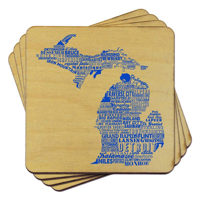 Torched Products Coasters Michigan State Typography Coaster