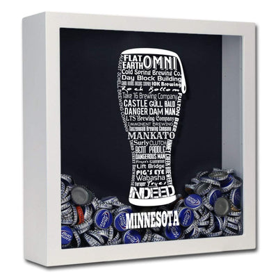 Torched Products Shadow Box White Minnesota Beer Typography Shadow Box