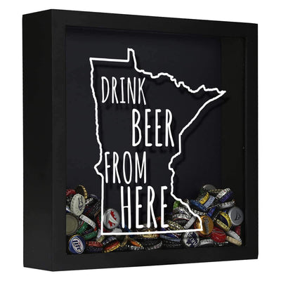 Torched Products Shadow Box Black Minnesota Drink Beer From Here Beer Cap Shadow Box (781176864885)