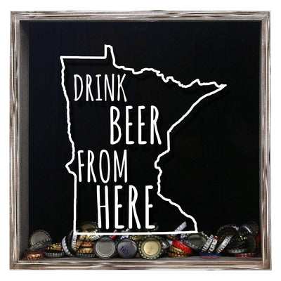 Torched Products Shadow Box Gray Minnesota Drink Beer From Here Beer Cap Shadow Box (781176864885)