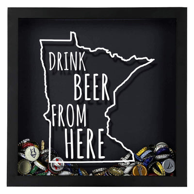 Torched Products Shadow Box Minnesota Drink Beer From Here Beer Cap Shadow Box