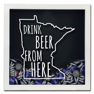 Torched Products Shadow Box Minnesota Drink Beer From Here Beer Cap Shadow Box (781176864885)