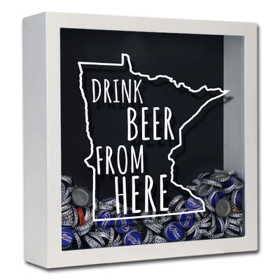 Torched Products Shadow Box White Minnesota Drink Beer From Here Beer Cap Shadow Box