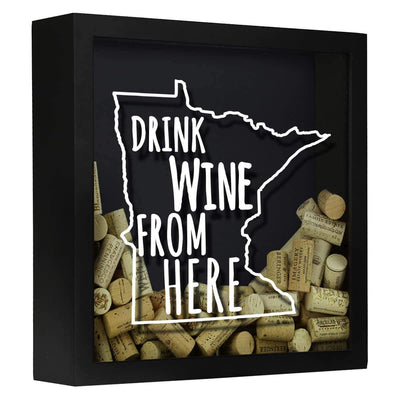 Torched Products Shadow Box Black Minnesota Drink Wine From Here Wine Cork Shadow Box (795745321077)