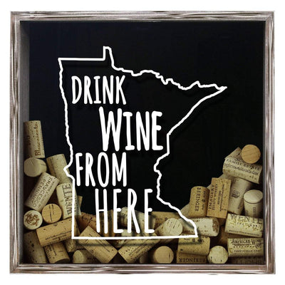Torched Products Shadow Box Gray Minnesota Drink Wine From Here Wine Cork Shadow Box (795745321077)