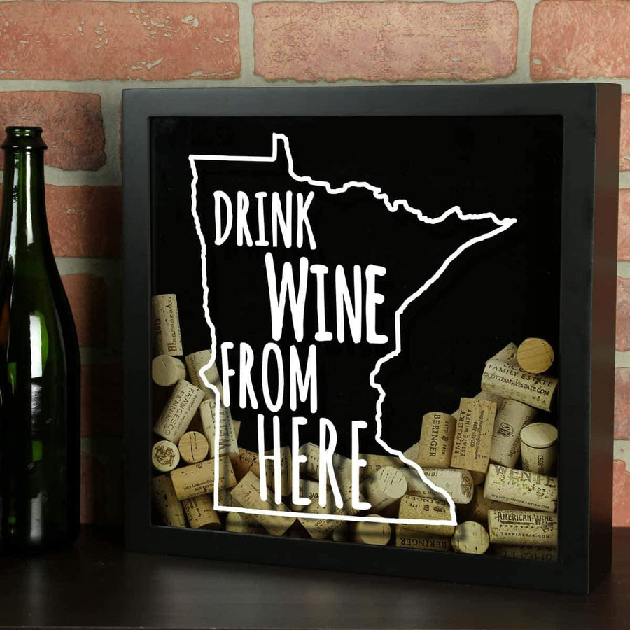 Torched Products Shadow Box Black Minnesota Drink Wine From Here Wine Cork Shadow Box